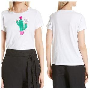 "Kate Spade Studded Cactus ""Hug Me"" Tee White M"